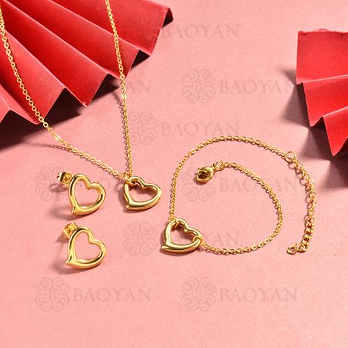 conjunto de collar y aretes en acero inoxidable -SSBNG126-15058
