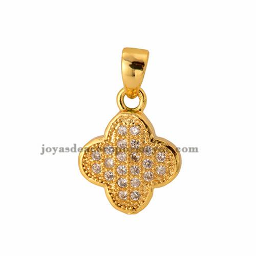 dije de trebol con brillo de oro laminado para mujeres -BRPTG72010