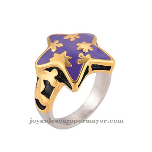 anillos con esmalte morado y de estrella con acero inoxidable