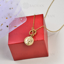 collar de charms moneda en acero inoxidable -SSNEG142-16225