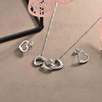 conjunto de collar y aretes en acero inoxidable -SSCSG126-15029
