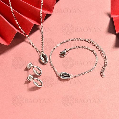 conjunto de collar y aretes en acero inoxidable -SSBNG126-15064