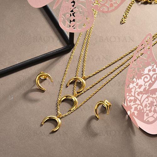 conjunto de collar y aretes en acero inoxidable -SSCSG126-15024