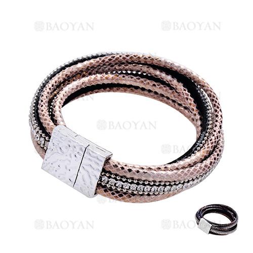pulsera de piel de serpiente con cristal blanca para mujer-ACBTG119132
