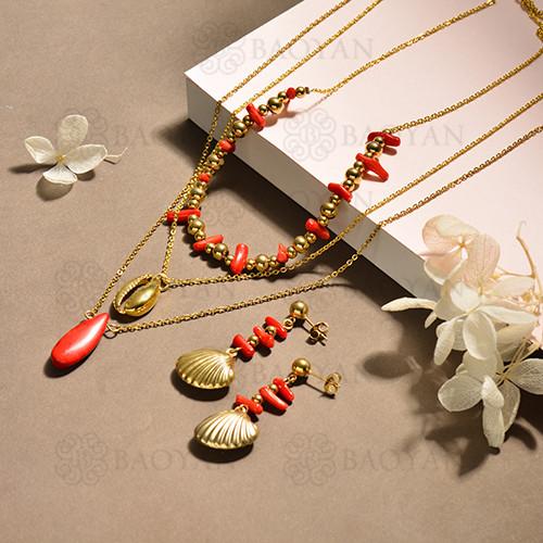 conjunto de collar y aretes en acero inoxidable -SSCSG142-15105
