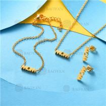 Conjunto de Pulsera Collar y Aretes en Acero Inoxidable -SSNEG126-10505