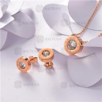 Conjunto de Acero inoxidable en Color Oro Rosado-SSNEG143-10830