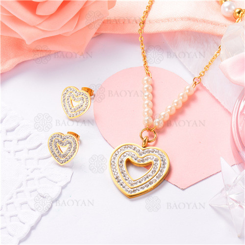 conjunto de joyas acero dorado inoxidable -SSNEG40-9628