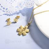 conjunto de collar y aretes en acero inoxidable -SSCSG143-15364