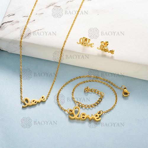 Joyas de Acero Inoxidable de Color Oro Dorado -SSNEG143-12200