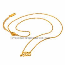 collar fina con letra  kiss  dorado acero inoxidable-SSNEG401634