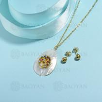 conjunto de collar de bronce y concha -SSCSG107-15845