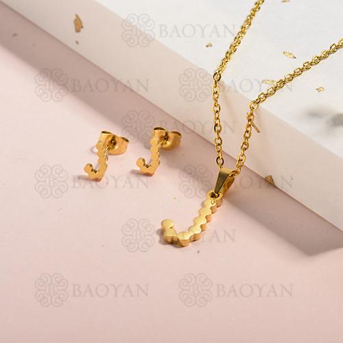 conjunto de collar y aretes en acero inoxidable -SSCSG143-15343