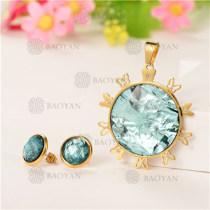 Conjunto de Cristal en Acero Dorado Para Mujer -SSSTG107-5585
