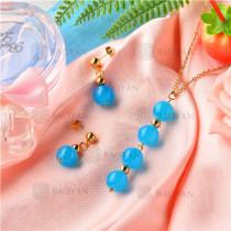 Conjunto de Collar y Aretes de Acero Inoxidable -SSNEG18-9140