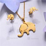 Conjunto de Acero inoxidable en Color Oro Dorado-SSNEG143-11036
