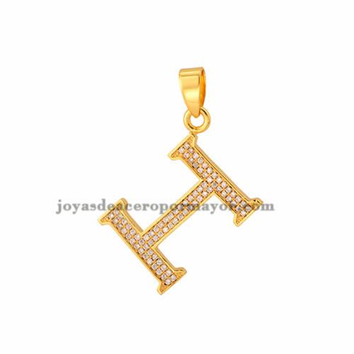 dije de letra H con brillo de oro laminado para mujeres -BRPTG72005