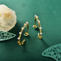 Aretes de Perla Imitacion en Acero Inoxidable -SSEGG143-9112
