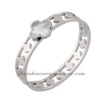 pulsera de plata de trebol en concha  de acero inoxidable por mayor