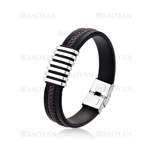 negro brazalete artesanal en acero para hombre-SSBTG1204676
