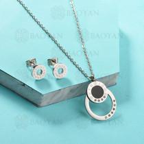 Conjunto de Collar de Numerales romanos en Acero Inoxidable -SSNEG143-13041