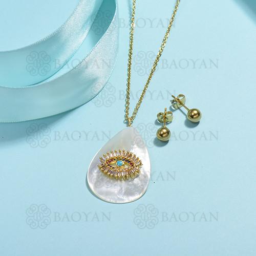 conjunto de collar de bronce y concha -SSCSG107-15849