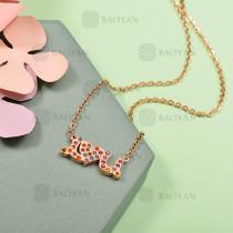 Collar de Acero Inoxidable con Cristal Multicolor -SSNEG143-12587