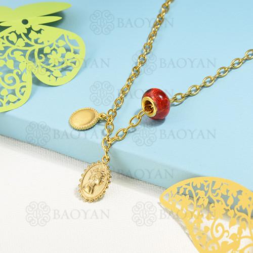 collar de charms en acero inoxidable -SSNEG142-16217