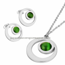 collar fina y aretes de piedra verde en  acero plateado inoxidable - SSNEG401637
