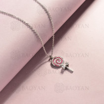 collar de acero inoxidable para mujer -SSNEG143-14820