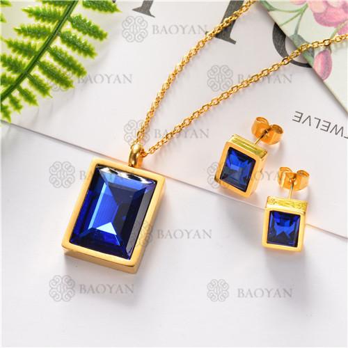 Conjunto de Cristal Azul con Collar y Aretes para Mujer -SSNEG126-7212