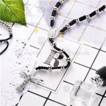 collar rosario en acero inoxidable-SSNEG95-9627