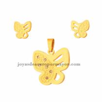 juego de dije y aretes de mariposa con cristal de dorado en acero inoxidable para mujer-SSSTG073302