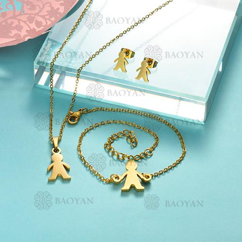 Joyas de Acero Inoxidable de Color Oro Dorado -SSNEG143-12226