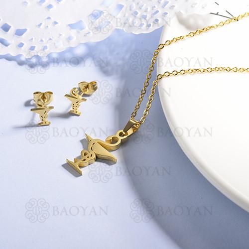 conjunto de collar y aretes en acero inoxidable -SSCSG143-15365