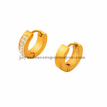argollas 14 mm dorado estilo simple cristal en acero inoxidable para mujer -SSEGG273501