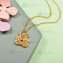 Collar de Acero Inoxidable con Cristal Multicolor -SSNEG143-12590