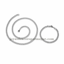 juego collar y brazalete de plateado en acero inoxidable para hombre -SSNEG462668