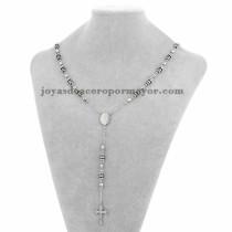 collar de bola plateado y rayas negra con dije santa cruz en acero inoxidable - SSNEG951900