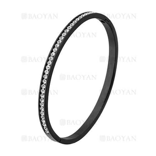 pulsera de brillante cristal en acero negro inoxidable -SSBTG1225546
