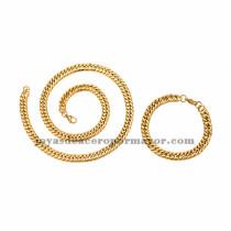 juego collar y brazalete  estilo simple dorado en acero inoxidable para hombre -SSNEG462657