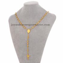 collar de bola dorado con dije santa cruz en acero inoxidable -SSNEG951905