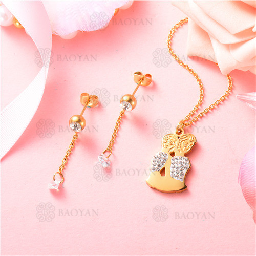 conjunto de joyas acero dorado inoxidable -SSNEG129-9706