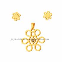 juego de dije y aretes de flor de dorado en acero inoxidable para mujer-SSSTG073301