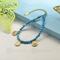 pulseras de bolitas natural con charms -SSBTG142-16194
