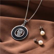 juego collar y aretes en acero inoxidable-SSNEG129-10033