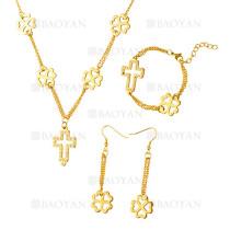 juego collar pendientes y brazalete de santa cruz con trebol  en acero dorado inoxidable -SSNEG1153592