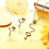 conjunto de joyas acero plateado inoxidable -SSNEG126-9604