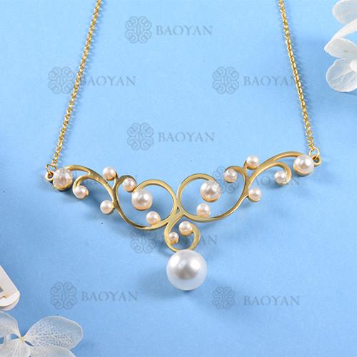 Collar de Perla Imitacion en Acero Inoxidable -SSNEG143-12068