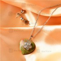 Collar con Aretes con Piedra Natural en Acero Inoxidable -SSNEG143-9503